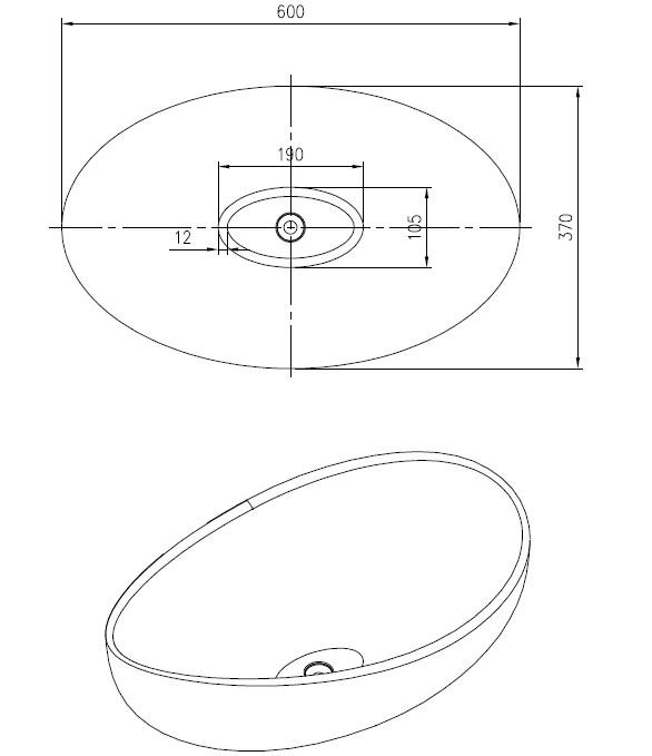 umywalka nablatowa rysunek techniczny