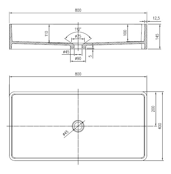 Umywalka Amati ML 313 rysunek techniczny